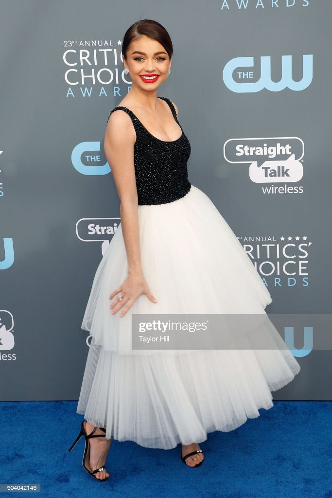 Sarah Hyland attends the 23rd Annual Critics' Choice Awards at Barker Hangar on January 11, 2018 in Santa Monica, California.