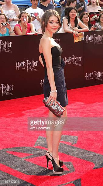 Sarah Hyland attends the premiere of 'Harry Potter and the Deathly Hallows Part 2' at Avery Fisher Hall Lincoln Center on July 11 2011 in New York...