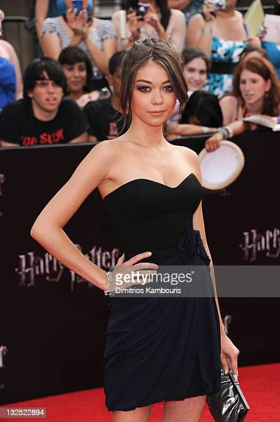 Sarah Hyland attends the premiere of ''Harry Potter and the Deathly Hallows Part 2'' at Avery Fisher Hall Lincoln Center on July 11 2011 in New York...
