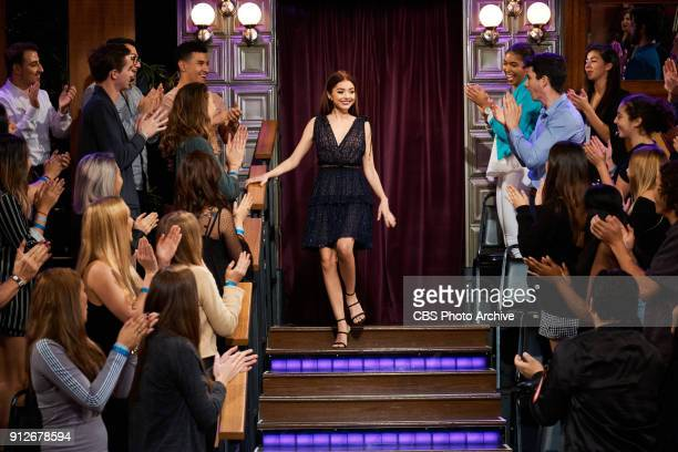 Sarah Hyland greets the audience during 'The Late Late Show with James Corden' Monday January 29 2018 On The CBS Television Network