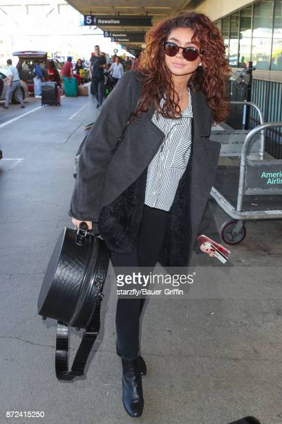 Sarah Hyland is seen at Los Angeles International Airport on November 09 2017 in Los Angeles California