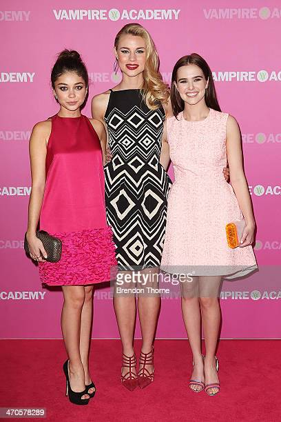 Sarah Hyland Lucy Fry and Zoey Deutch arrive at the 'Vampire Academy' premiere at Event Cinemas George Street on February 20 2014 in Sydney Australia
