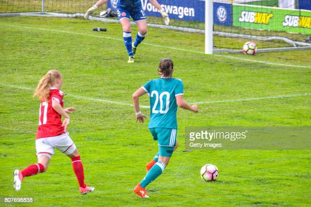 Sarah Jabbes of Germany aiming for a goal during the Nordic Cup 2017 match between U16 Girl's Germany and U16 Girl's Norway on July 4 2017 in Kemi...