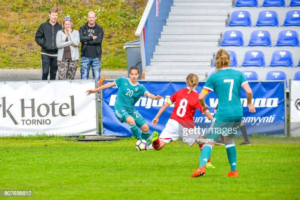 Sarah Jabbes of Germany challenges Josefine Hasbo of Denmark during the Nordic Cup 2017 match between U16 Girl's Germany and U16 Girl's Norway on...
