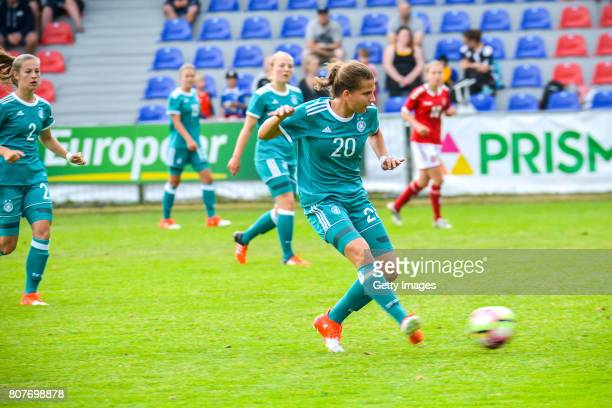 Sarah Jabbes of Germany handling the ball during the Nordic Cup 2017 match between U16 Girl's Germany and U16 Girl's Norway on July 4 2017 in Kemi...