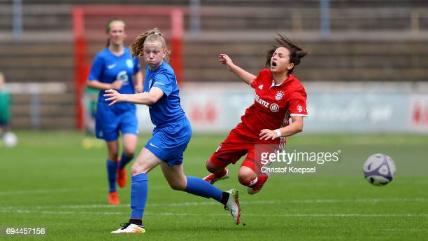 Sarah Jabbes of Meppen challenges Maral Artin of Bayern during the B Junior Girl's German Championship Semi Final match between SV Meppen and Bayern...