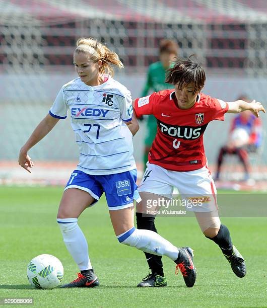 Sarah Jackson of Iga FC Kunoichi and Rie Usui of Urawa Red Diamonds Ladies compete for the ball during the Nadeshiko League match between Urawa Red...