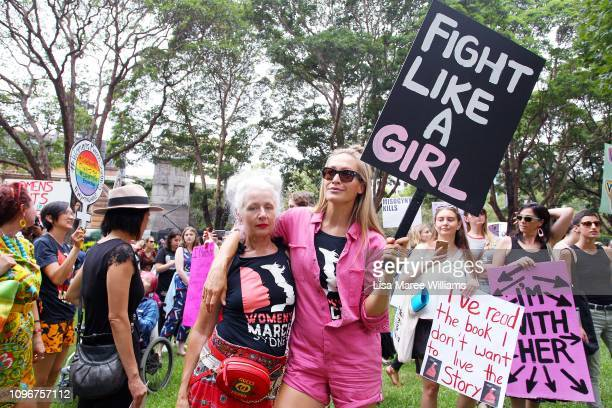 Sarah Jane Adams and Erika Heynatz join the 'Women's Wave' March 2019 on January 20 2019 in Sydney Australia The third annual global Women's March...