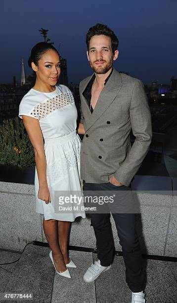 Sarah Jane Crawford and Max Rogers pose as HTC and Jourdan Dunn launch the Limited Edition HTC One M9 INK handset at ME Hotel on June 11, 2015 in...