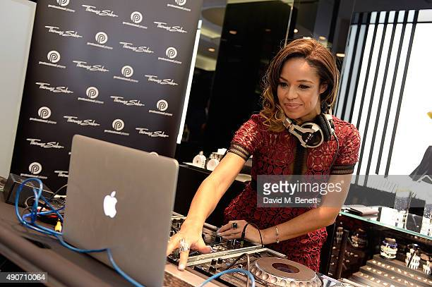 Sarah Jane Crawford DJs at the Thomas Sabo Professional Player Magazine Cocktail Collection Launch on September 30 2015 in London England