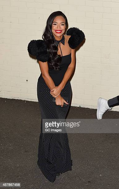 Sarah Jane Crawford leaves the X Factor studio on October 25 2014 in London England