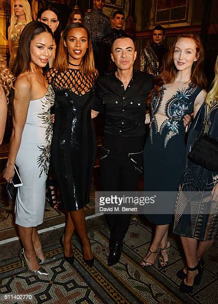 Sarah Jane Crawford Rochelle Humes Julien Macdonald and Olivia Grant pose backstage following the Julien Macdonald show during London Fashion Week...
