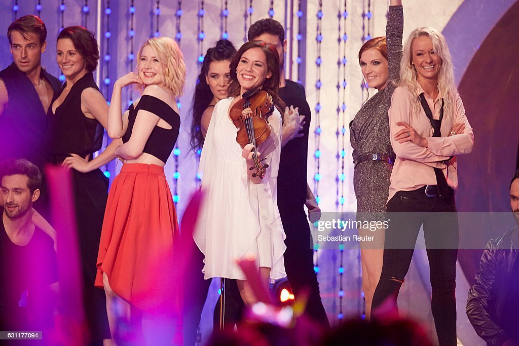 Sarah Jane Scott, Franziska Wiese, Anni Perka and Christin Stark are seen on stage at the 'Das grosse Fest der Besten' tv show at Velodrom on January 7, 2017 in Berlin, Germany.