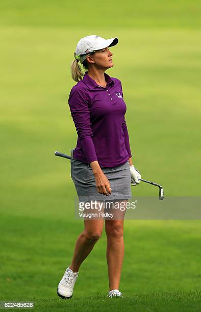 Sarah Jane Smith of Australia looks at where her 2nd shot landed on the 18th hole during the second round of the Citibanamex Lorena Ochoa...