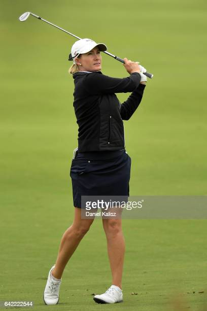 Sarah Jane Smith of Australia plays a shot during round two of the ISPS Handa Women's Australian Open at Royal Adelaide Golf Club on February 17 2017...
