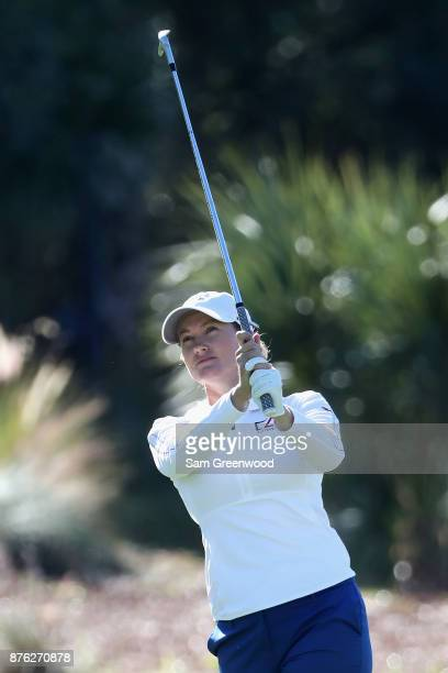 Sarah Jane Smith of Australia plays a shot on the second hole during the final round of the CME Group Tour Championship at the Tiburon Golf Club on...