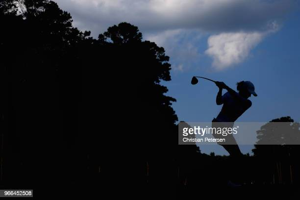 Sarah Jane Smith of Australia plays a tee shot on the 10th hole during the third round of the 2018 US Women's Open at Shoal Creek on June 2 2018 in...