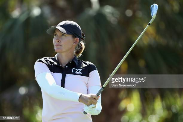 Sarah Jane Smith of Australia plays her shot from the 16th tee during round one of the CME Group Tour Championship at the Tiburon Golf Club on...