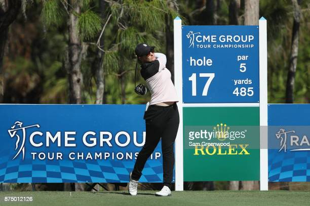 Sarah Jane Smith of Australia plays her shot from the 17th tee during round one of the CME Group Tour Championship at the Tiburon Golf Club on...