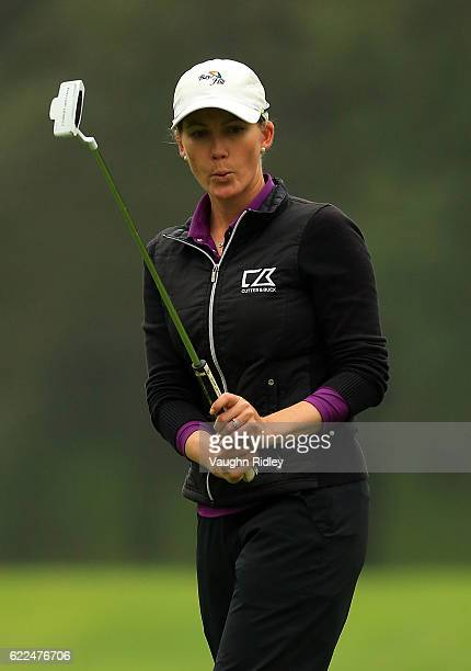 Sarah Jane Smith of Australia reacts after coming close to sinking her putt on the 8th hole during the second round of the Citibanamex Lorena Ochoa...