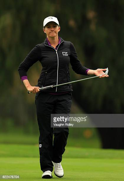 Sarah Jane Smith of Australia reacts after missing a putt on the 9th hole during the second round of the Citibanamex Lorena Ochoa Invitational...