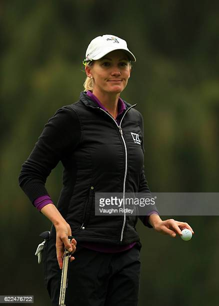 Sarah Jane Smith of Australia reacts after sinking a par putt on the 9th hole during the second round of the Citibanamex Lorena Ochoa Invitational...