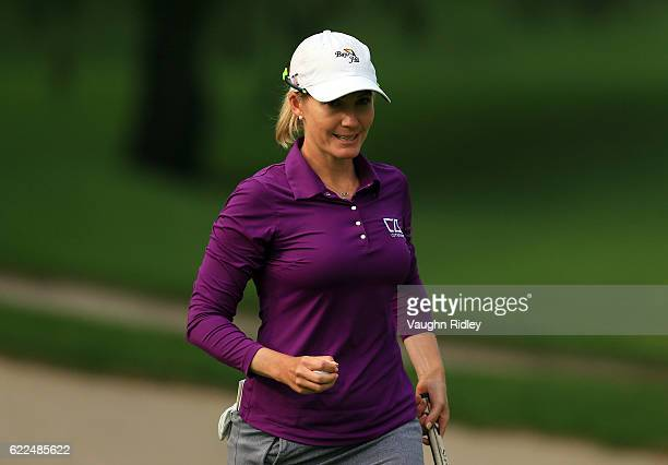 Sarah Jane Smith of Australia reacts after sinking her putt on the 18th hole during the second round of the Citibanamex Lorena Ochoa Invitational...