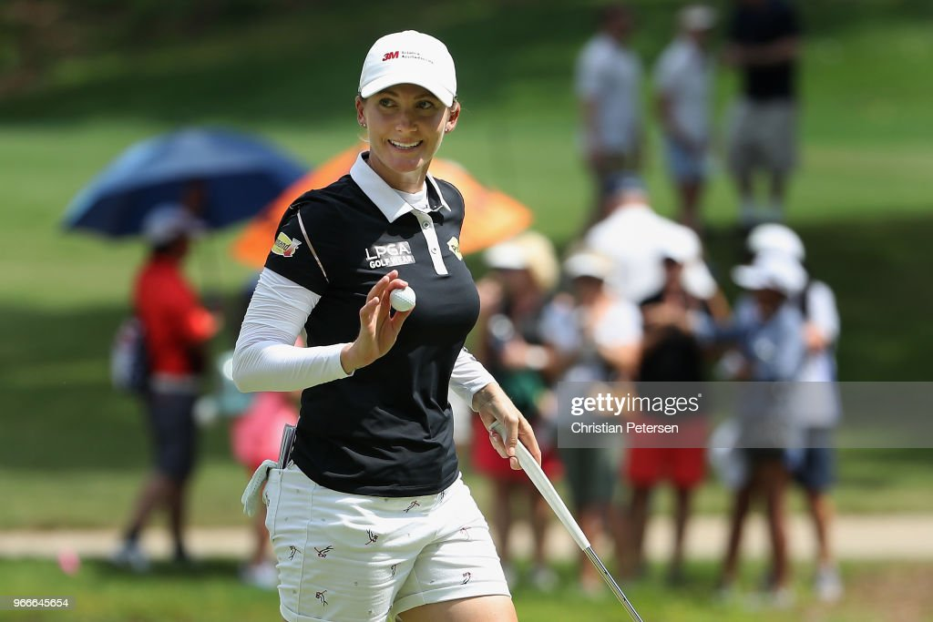 Sarah Jane Smith of Australia reacts to a birdie putt on the eighth green during the final round of the 2018 U.S. Women's Open at Shoal Creek on June 3, 2018 in Shoal Creek, Alabama.