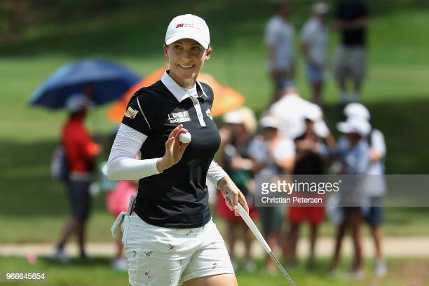 Sarah Jane Smith of Australia reacts to a birdie putt on the eighth green during the final round of the 2018 US Women's Open at Shoal Creek on June 3...