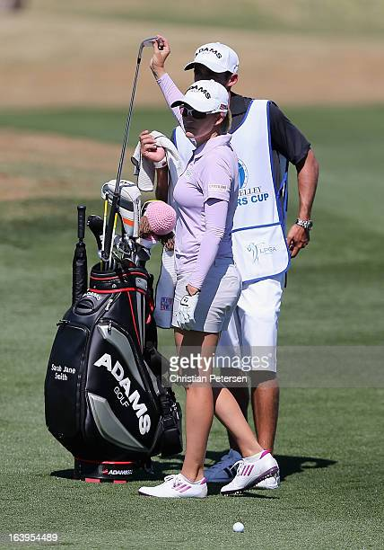 Sarah Jane Smith of Australia takes a club from her bag during the first round of the RR Donnelley LPGA Founders Cup at Wildfire Golf Club on March...