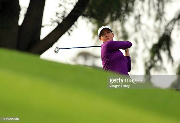 Sarah Jane Smith of Australia watches her 1st shot on the 18th hole during the second round of the Citibanamex Lorena Ochoa Invitational Presented By...