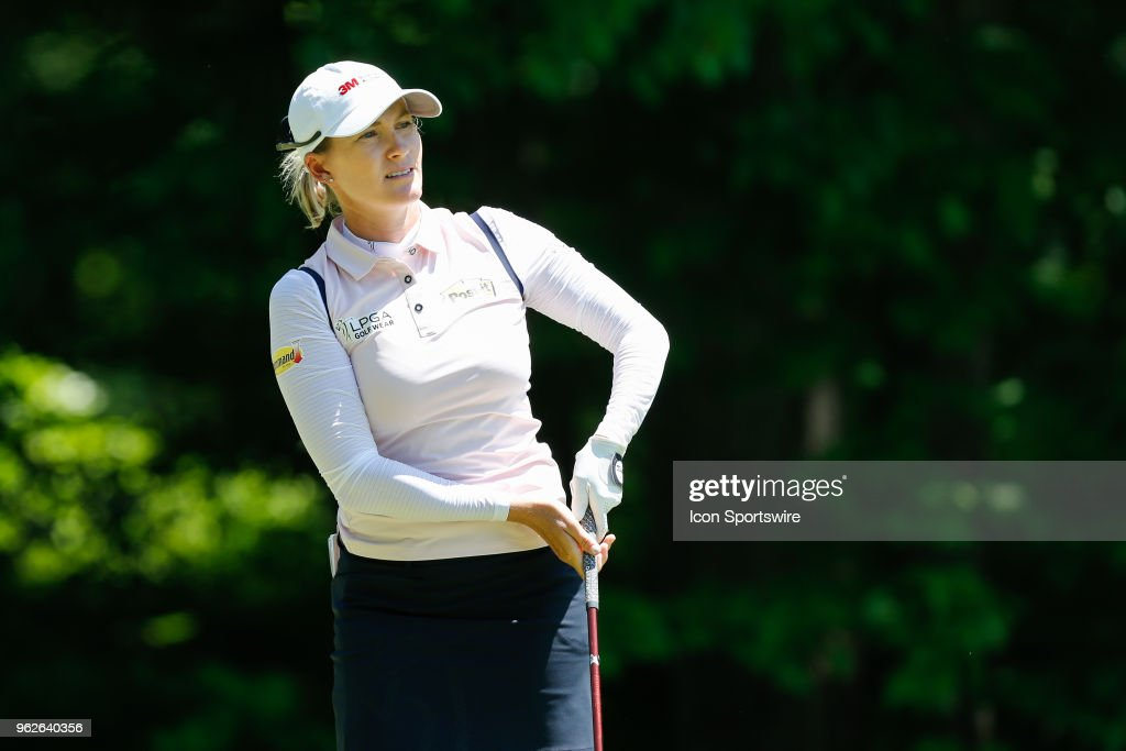 Sarah Jane Smith, of Australia, watches her tee shot on the fifth hole during the second round of the LPGA Volvik Championship on May 25, 2018 at Travis Pointe Country Club in Ann Arbor, Michigan.