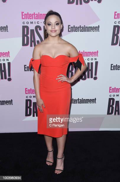Sarah Jeffery attends the annual Entertainment Weekly ComicCon Celebration at Float at Hard Rock Hotel San Diego on July 21 2018 in San Diego...