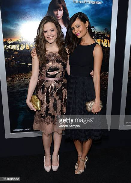 Sarah Jeffrey and Thandie Newton attend the premiere of 'Rogue' at ArcLight Cinemas on March 26 2013 in Hollywood California