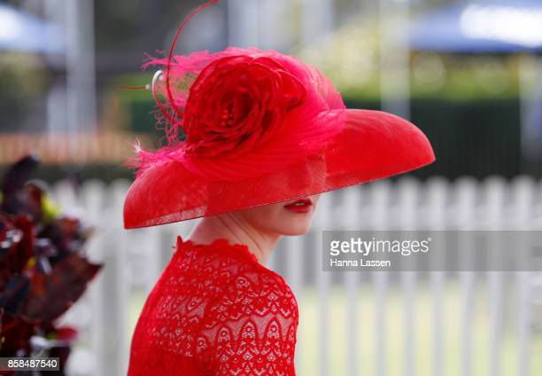 Sarah Jehan hat detail wearing Embellish Atelier at Moet Chandon Spring Champion Stakes Day at Royal Randwick Racecourse on October 7 2017 in Sydney...