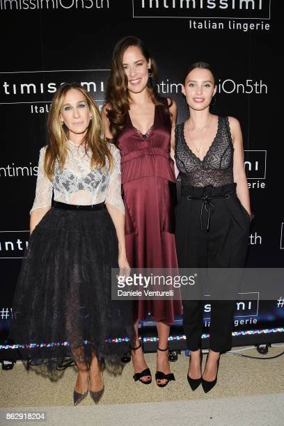 Sarah Jessica Parker Ana Ivanovic and Ella Mills attend the Intimissimi Grand Opening on October 18 2017 in New York United States