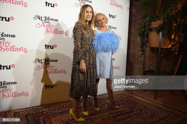 "Sarah Jessica Parker and Amy Sedaris attend the premiere screening and party for truTV's new comedy series ""At Home with Amy Sedaris"" at The Bowery..."