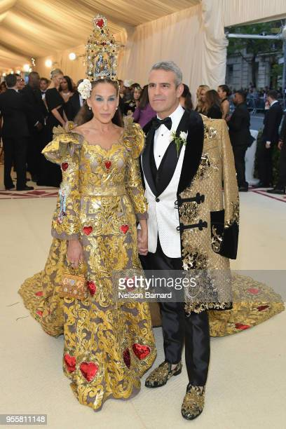 Sarah Jessica Parker and Andy Cohen attend the Heavenly Bodies Fashion The Catholic Imagination Costume Institute Gala at The Metropolitan Museum of...