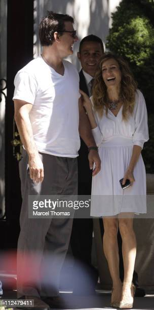 Sarah Jessica Parker and Chris Noth are seen on the set of the movie ' Sex in the City2' on location on the Streets of Manhattan on September 1 2009...