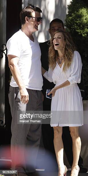 Sarah Jessica Parker and Chris Noth are seen on the set of the movie Sex in the City2 on location on the Streets of Manhattan on September 1 2009 in...