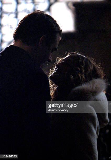 Sarah Jessica Parker and Chris Noth during Sarah Jessica Parker and Chris Noth on the Set of 'Sex and the City' January 30 2004 at Manhattan in New...