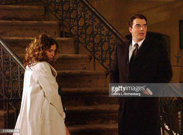 Sarah Jessica Parker and Chris Noth during Sex and the City film their last scene at West 4th Street and Perry Street Greenwich Village in New York...