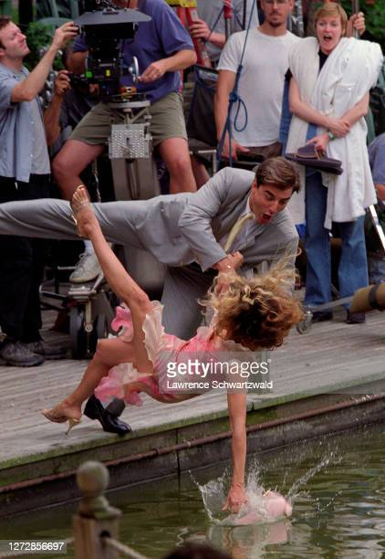 Sarah Jessica Parker and Chris Noth fall into Central Park Lake filming a scene for Sex & the City, NYC July 24, 2000. Exclusive