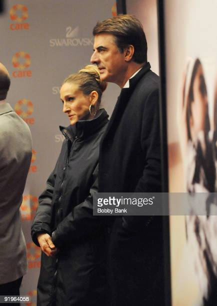 Sarah Jessica Parker and Chris Noth on location for 'Sex The City 2' on the streets of Manhattan on October 16 2009 in New York City