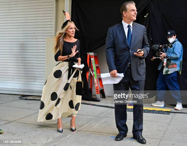"""Sarah Jessica Parker and Chris Noth seen on the set of """"And Just Like That..."""" the follow up series to """"Sex and the City"""" in Chelsea on August 02,..."""