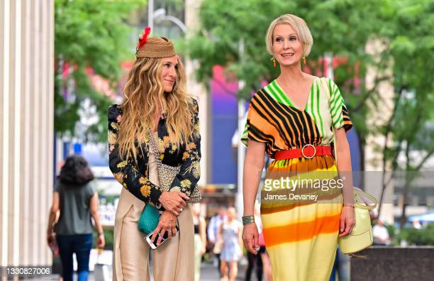 """Sarah Jessica Parker and Cynthia Nixon are seen on the set of """"And Just Like That..."""" the follow up series to """"Sex and the City"""" in Midtown Manhattan..."""