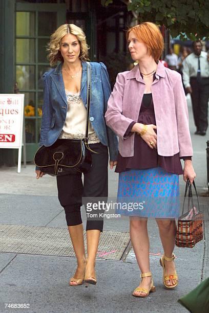 Sarah Jessica Parker and Cynthia Nixon at the Manhattan in New York City New York