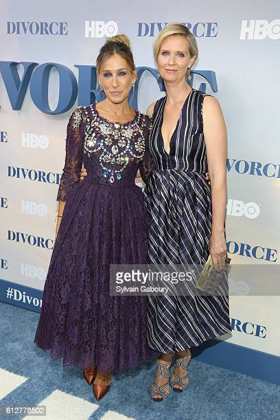 Sarah Jessica Parker and Cynthia Nixon attend HBO Presents the New York Red Carpet Premiere of Divorce at SVA Theater on October 4 2016 in New York...