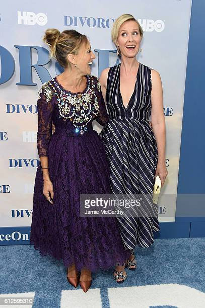 Sarah Jessica Parker and Cynthia Nixon attend the Divorce New York Premiere at SVA Theater on October 4 2016 in New York City