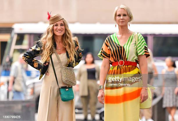 """Sarah Jessica Parker and Cynthia Nixon seen on the set of """"And Just Like That..."""" the follow up series to """"Sex and the City"""" in Midtown Manhattan on..."""